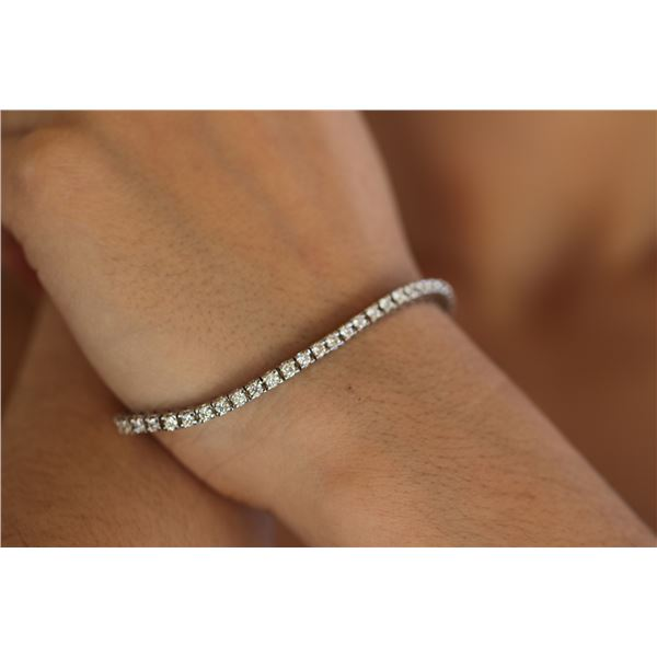 Natural 3.32 ctw Diamond Eternity Tennis Bracelet 14K White Gold - REF-293R5K