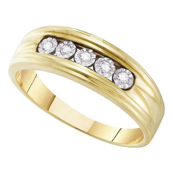 Round Diamond Wedding 5-Stone Band Ring 1/10 Cttw 10KT Yellow Gold