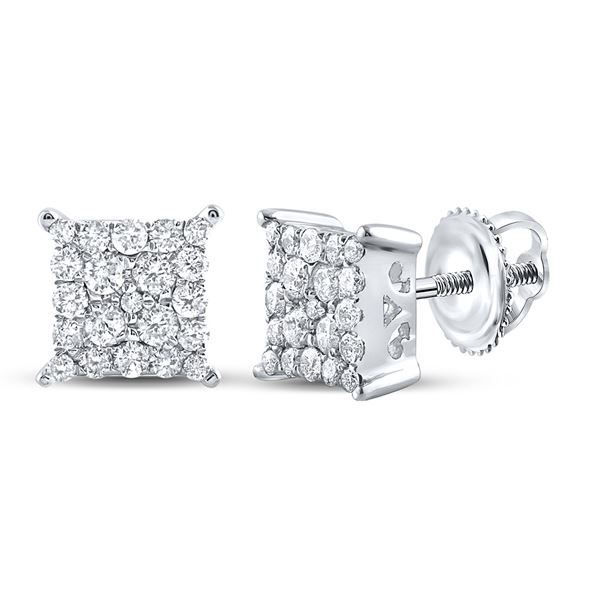 Round Diamond Square Earrings 1/4 Cttw 10KT White Gold