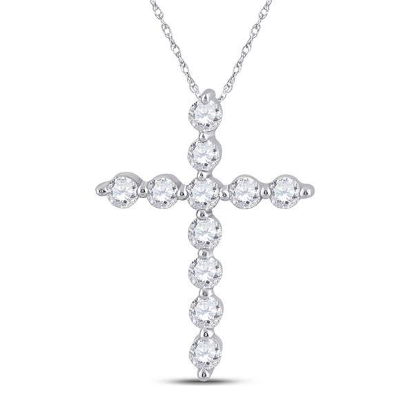 Round Diamond Cross Pendant 1/4 Cttw 14KT White Gold