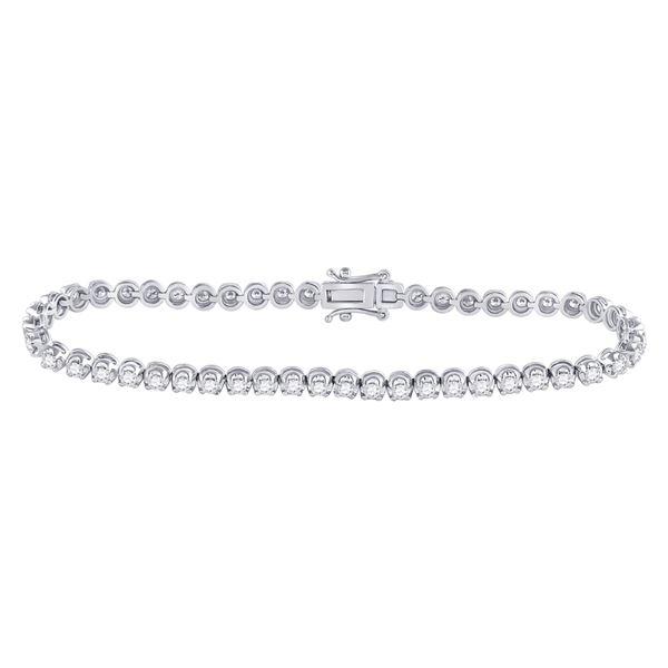 Round Diamond Timeless Tennis Bracelet 2 Cttw 14KT White Gold