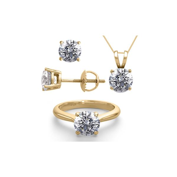 14K Yellow Gold SET 6.0CTW Natural Diamond Ring, Earrings, Necklace - REF-1998X4F