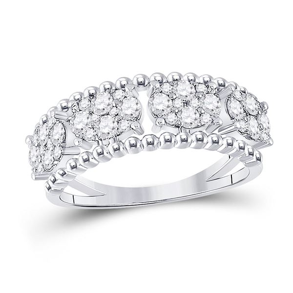 Round Diamond Oval Cluster Band Ring 3/4 Cttw 14KT White Gold