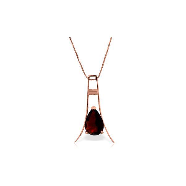 Genuine 1.50 ctw Garnet Necklace 14KT Rose Gold - REF-35A4K