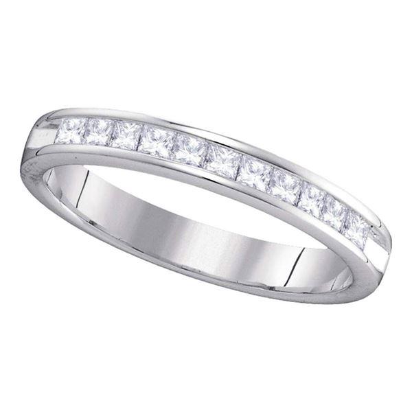 Princess Diamond Single Row Wedding Band 1/2 Cttw 14KT White Gold