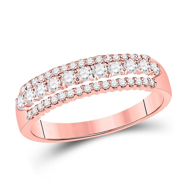 Round Diamond Triple Row Band Ring 1/2 Cttw 14KT Rose Gold