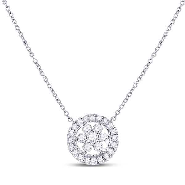 Round Diamond Floral Cluster Necklace 1/3 Cttw 14KT White Gold