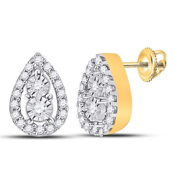Round Diamond Teardrop Earrings 1/8 Cttw 10KT Yellow Gold