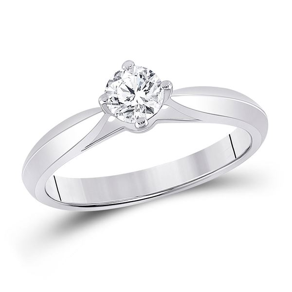 Round Diamond Solitaire Bridal Wedding Engagement Ring 1/2 Cttw 14KT White Gold