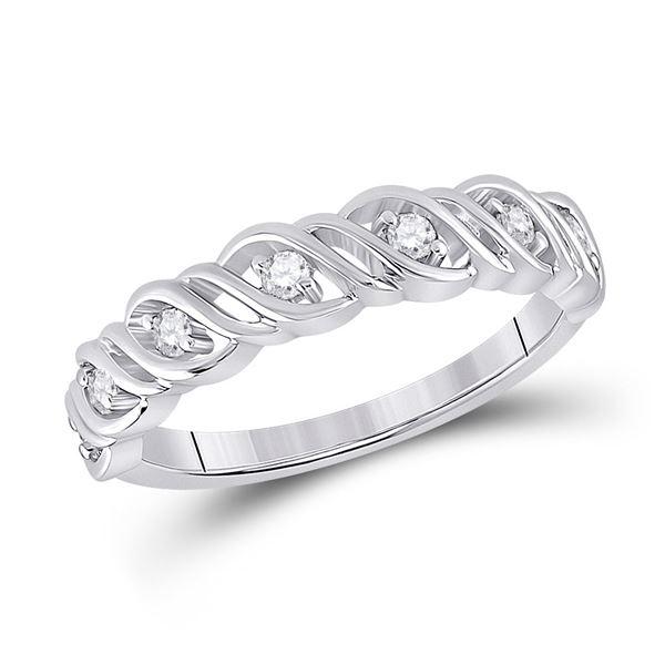 Round Diamond Band Ring 1/5 Cttw 14KT White Gold