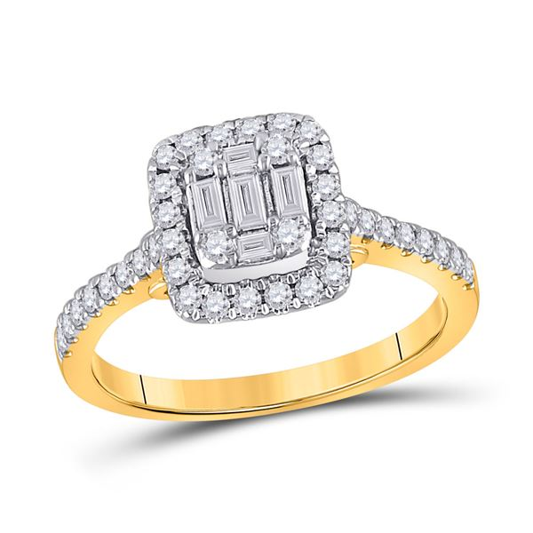 Baguette Diamond Square Ring 1/2 Cttw 14KT Yellow Gold