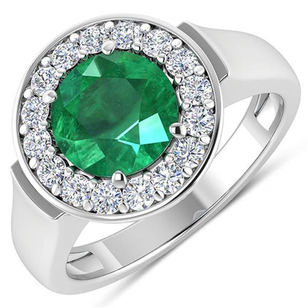 Natural 2.38 CTW Zambian Emerald & Diamond Ring 14K White Gold - REF-107R8F