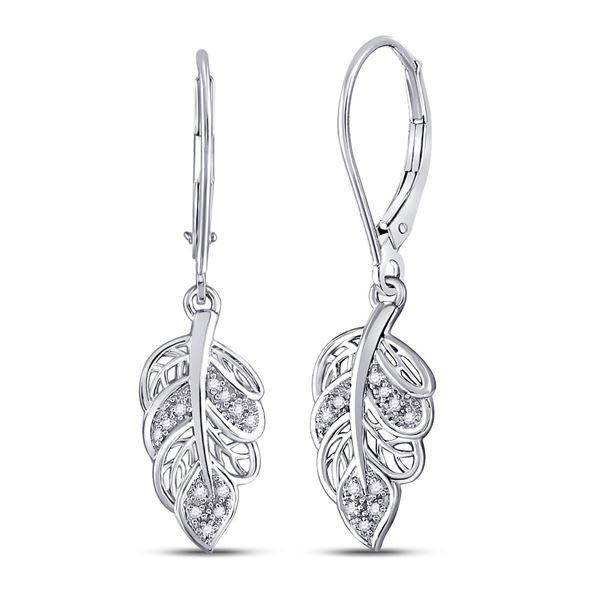Round Diamond Dangle Leaf Leaves Wire Earrings 1/20 Cttw 10KT White Gold