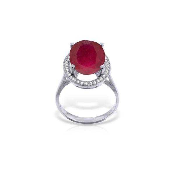 Genuine 7.93 ctw Ruby & Diamond Ring 14KT White Gold - REF-124X2M