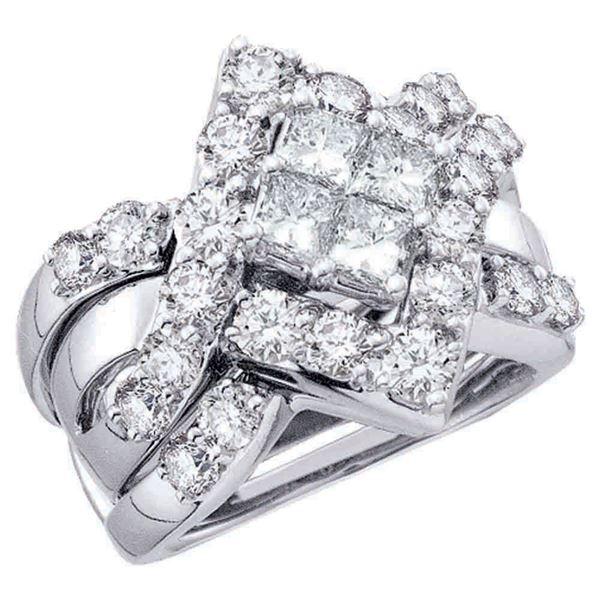 Cluster Bridal Wedding Ring Band Set 2 Cttw 14KT White Gold