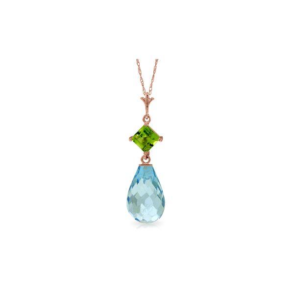 Genuine 5.5 ctw Blue Topaz & Peridot Necklace 14KT Rose Gold - REF-22N2R