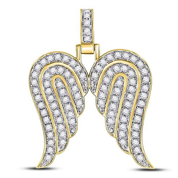 Round Diamond Angel Wing Charm Pendant 5/8 Cttw 10KT Yellow Gold
