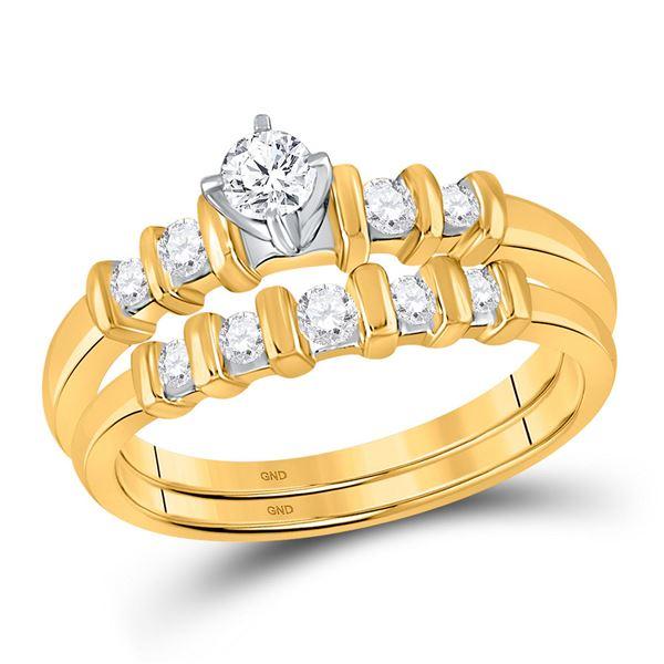 Diamond Bridal Wedding Ring Band Set 3/8 Cttw 10KT Yellow Gold
