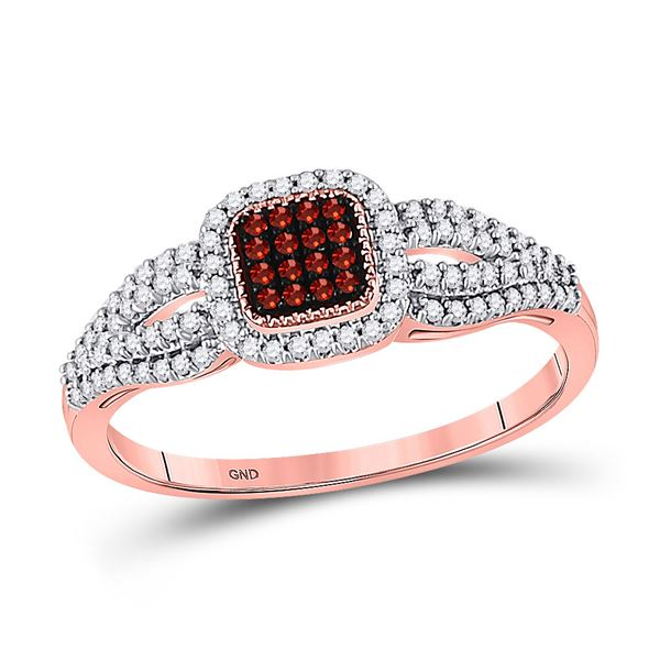 Round Red Color Enhanced Diamond Square Cluster Ring 1/4 Cttw 10KT Rose Gold