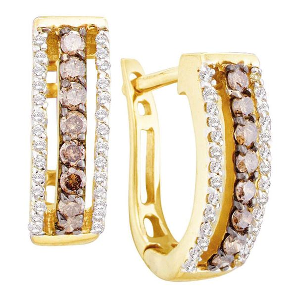 Round Brown Diamond Hoop Earrings 1/2 Cttw 14KT Yellow Gold