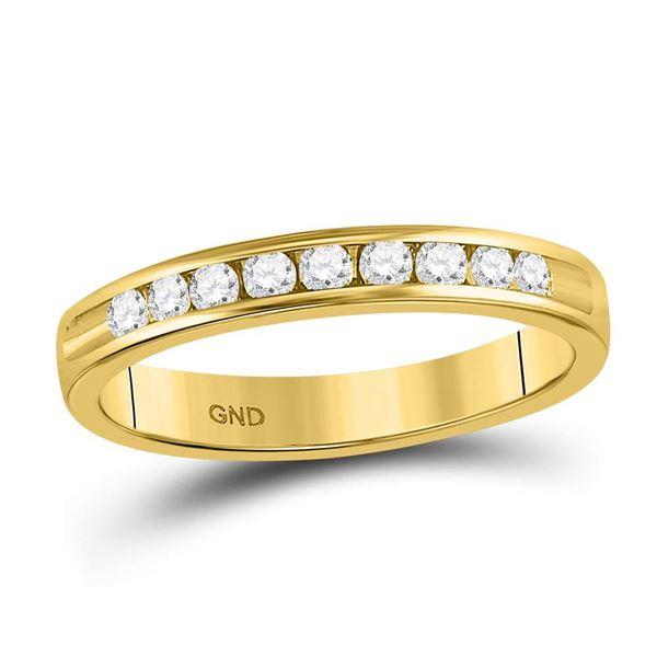 Round Diamond Single Row Wedding Band 1/4 Cttw 14KT Yellow Gold