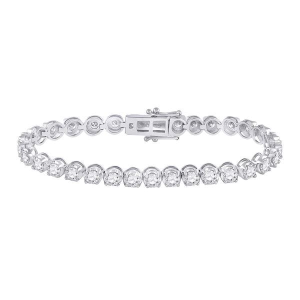 Round Diamond Tennis Bracelet 7 Cttw 14KT White Gold