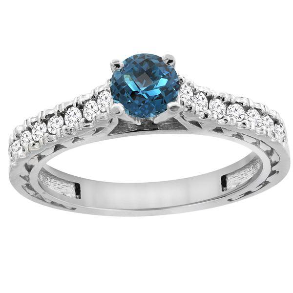 0.86 CTW London Blue Topaz & Diamond Ring 14K White Gold - REF-62F5N