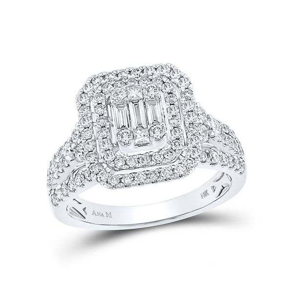 Baguette Round Diamond Cluster Ring 1-1/5 Cttw 14KT White Gold