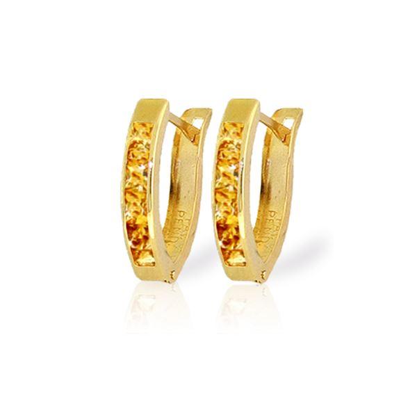 Genuine 0.70 ctw Citrine Earrings 14KT Yellow Gold - REF-23A2K