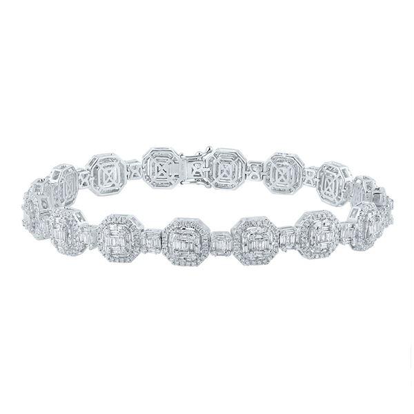 Baguette Diamond Link Bracelet 6-1/4 Cttw 14KT White Gold