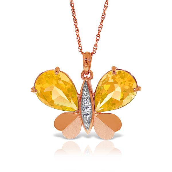 Genuine 7.1 ctw Citrine & Diamond Necklace 14KT Rose Gold - REF-126W5Y