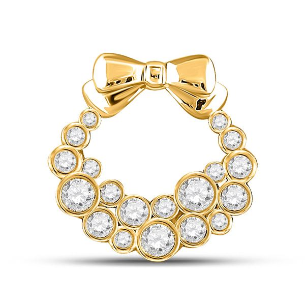 Round Diamond Holiday Wreath Pendant 1/2 Cttw 10KT Yellow Gold