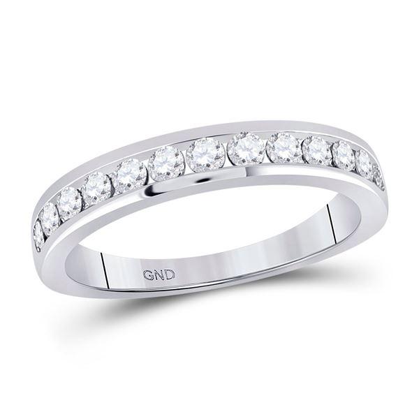 Round Diamond Wedding Single Row Band 1/2 Cttw 14KT White Gold