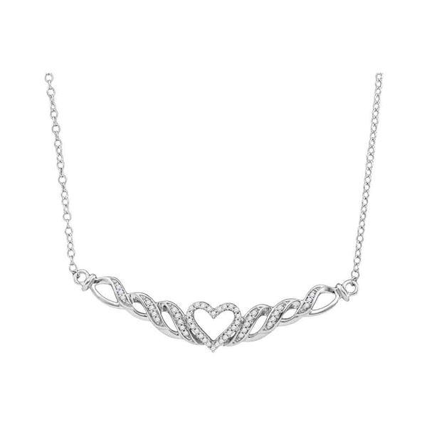 Round Diamond Heart Necklace 1/8 Cttw 10KT White Gold