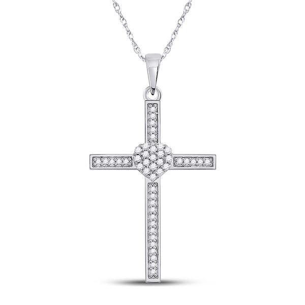 Round Diamond Heart Cross Pendant 1/5 Cttw 10KT White Gold