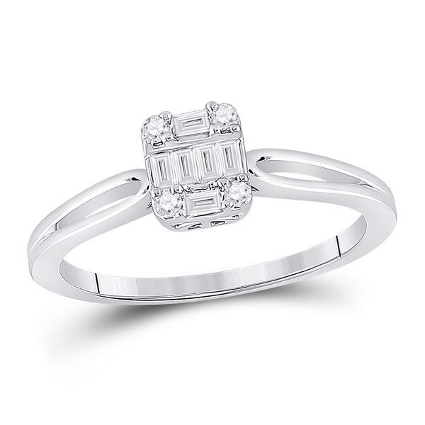 Baguette Diamond Cluster Ring 1/5 Cttw 14KT White Gold