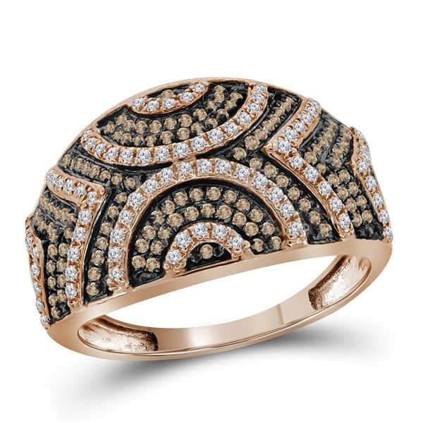 Round Red Color Enhanced Diamond Fashion Ring 1/2 Cttw 10KT Rose Gold