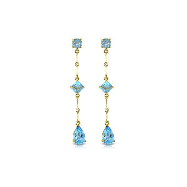 Genuine 6.06 ctw Blue Topaz & Diamond Earrings 14KT Yellow Gold - REF-33M8T