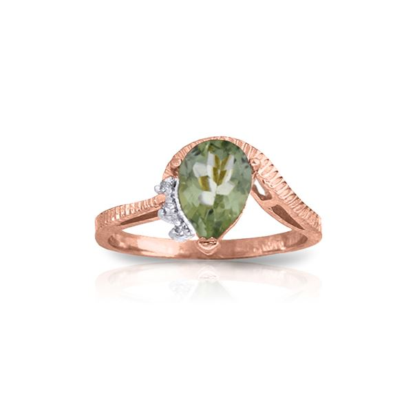 Genuine 1.52 ctw Green Amethyst & Diamond Ring 14KT Rose Gold - REF-51H4X