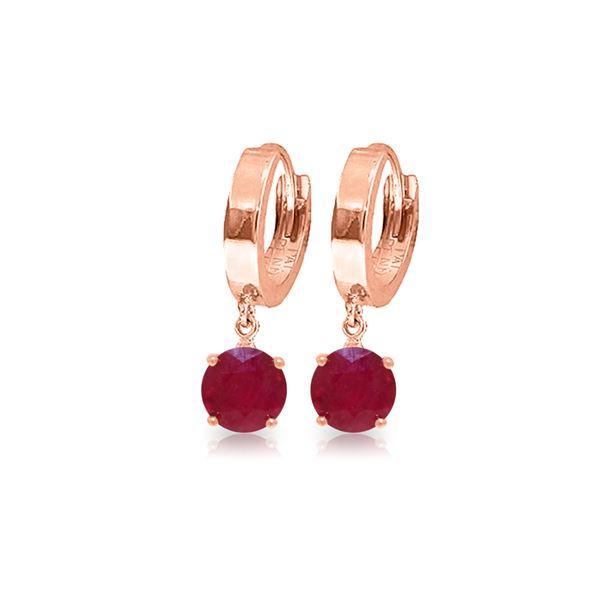 Genuine 2.5 ctw Ruby Earrings 14KT Rose Gold - REF-33K6V