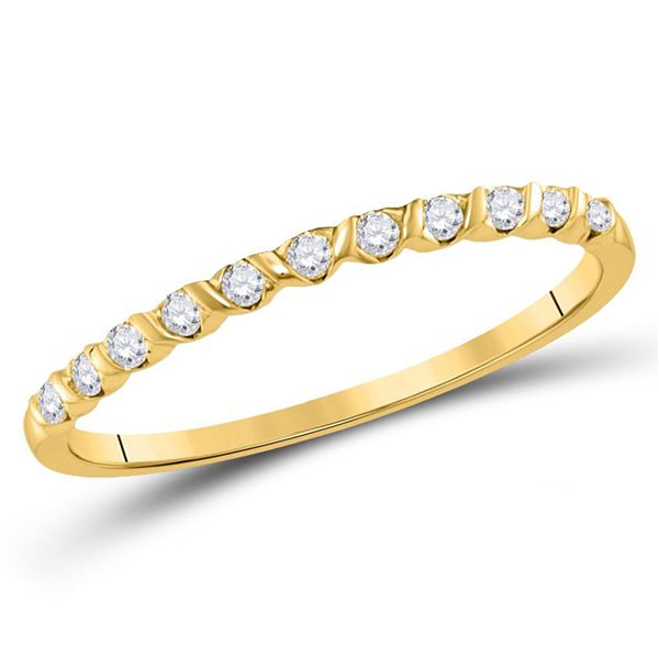 Round Diamond Stackable Band Ring 1/6 Cttw 10KT Yellow Gold