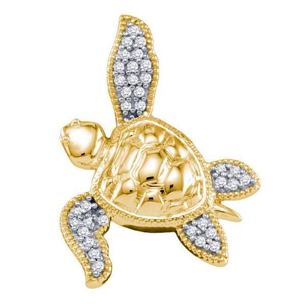Sea Turtle Tortoise Animal Shell Pendant 1/10 Cttw 10KT Yellow Gold