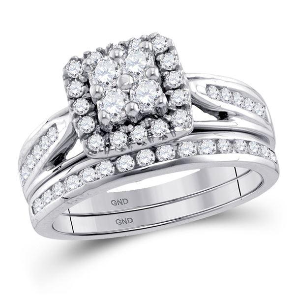 Diamond Cluster Bridal Wedding Ring Band Set 1 Cttw 10KT White Gold