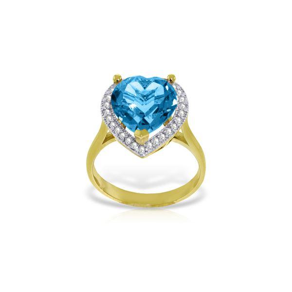 Genuine 6.44 ctw Blue Topaz & Diamond Ring 14KT Yellow Gold - REF-69P6H