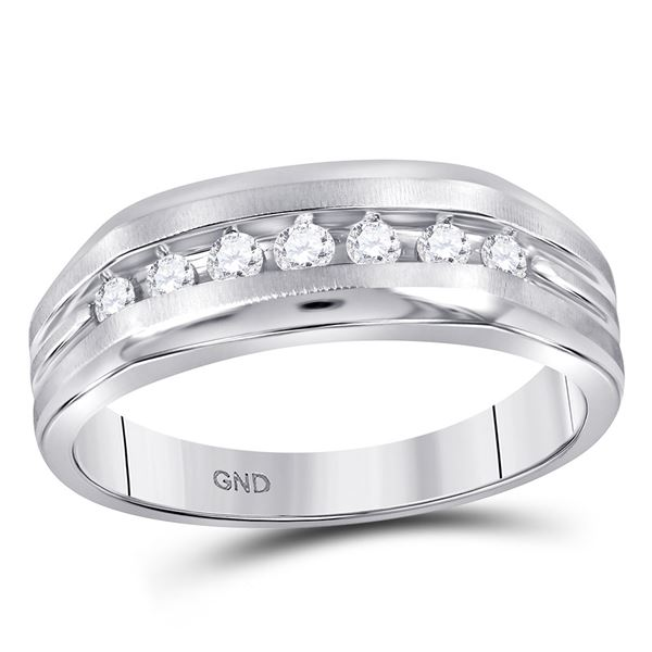 Round Diamond Wedding Single Row Band Ring 1/4 Cttw 10KT White Gold