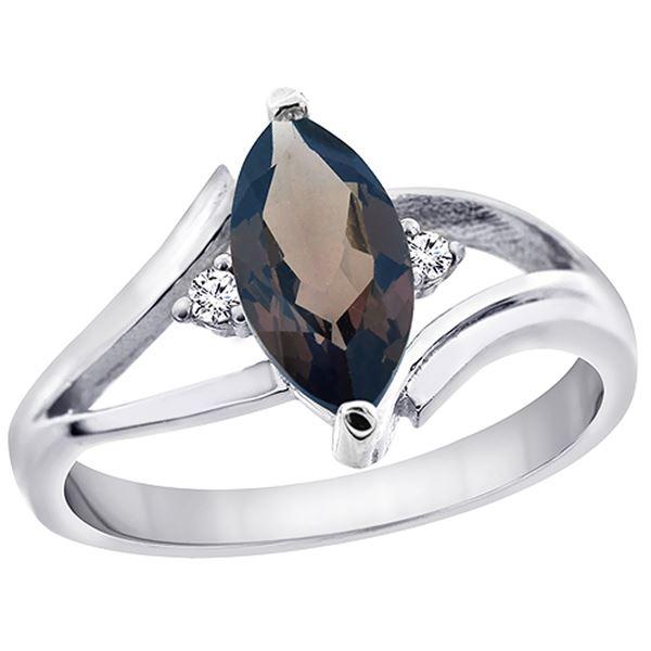 1.24 CTW Quartz & Diamond Ring 14K White Gold - REF-31X2M