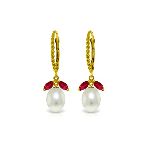 Genuine 9 ctw Ruby & Pearl Earrings 14KT Yellow Gold - REF-41P4H