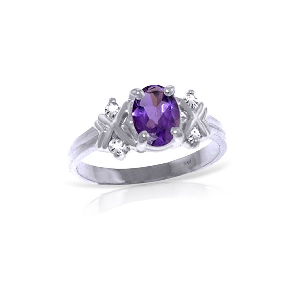 Genuine 0.97 ctw Amethyst & Diamond Ring 14KT White Gold - REF-59F2Z