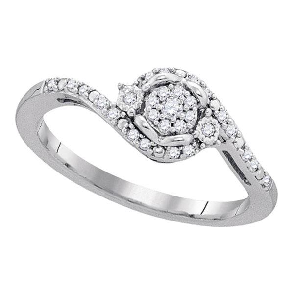 Round Diamond Cluster Ring 1/8 Cttw 10KT White Gold