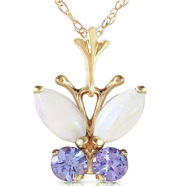 Genuine 0.70 ctw Opal & Tanzanite Necklace 14KT Yellow Gold - REF-25N9R
